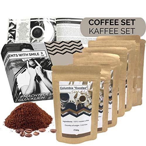 Kaffee Geschenkset gemahlener Kaffee Geschenkbox | 6x60g Kaffee Weltreise Geschenkidee für Frauen...