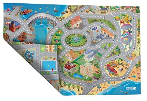 House of Kids–94074–Spiel-Teppich, Umkehrbar–Motiv: Straßen am Meer