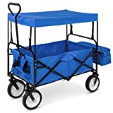 Best Choice Products Folding Utility Cargo Wagon Cart w/Removable Canopy, Cup Holders - Blue