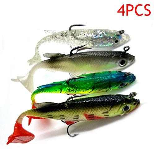 ZREAL 4 pz Nuovo Arrivo 8 cm 14g Esca Morbida Piombo Testa Mare Pesce Esche da Pesca Affilati Sharp Treble Hook T Tail