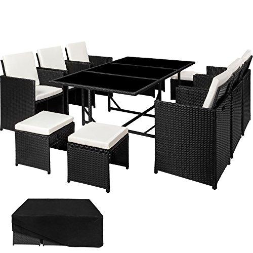 TecTake Set di mobili da giardino poli rattan arredamento set | 6 Sedie + 1 Tavolo + 4 Sgabelli |...