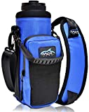 Arca Gear 40 oz Hydro Carrier - Insulated Water Bottle Sling w/Carry Handle, Shoulder Strap, Wallet and Two Pouches - The Perfect Flask Accessory - Deep Blue