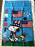 Snoopy America Patriotic 4th of July 28x40 Large House Flag Double Sided