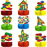 9 Pieces Building Block Birthday Party Supplies Building Block Honeycomb Centerpieces Boy Girl Birthday Party Decorations Brick Themed Table Centerpiece Classic Cake Topper Table Decor