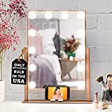 REBEL POPPY Vanity Mirrors with LED Lights - Phone Mount, 3 Lighting Touch Control, 18.5 x 14.8, Fogless - Hollywood Lighted Makeup Mirror - Rose Gold
