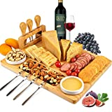 ROYAMY Bamboo Cheese Board Set with 3 Stainless Steel Knife, Meat Charcuterie Platter Serving Tray,...