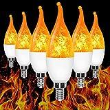 E12 Flame Bulb LED Candelabra Flame Bulbs,1.2 Watt Warm White LED Chandelier Bulbs ,3 Modes Flame Light Bulbs -for Halloween Decorations/Festival/Hotel/Bar Party Decoration (6 Pack)