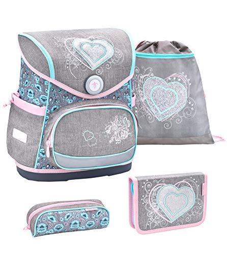Belmil ergonomischer Schulranzen Set 4 -teilig für Mädchen 1-4 Klasse Grundschule//Brustgurt/Magnetverschluss/Herz, Heart/Grau, Grey (405-41 Trendy Love)