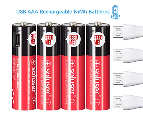 AA Rechargeable Batteries, USB Rechargeable AA Batteries 1000mAh with 4 USB Ports High Capacity 1.2V Ni-MH Recyclable Recharge Battery by USB Cable(4 Count)