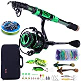 Sougayilang Fishing Rod and Reel Combos - Carbon Fiber Telescopic Fishing Pole - Spinning Reel 12 +1 BB with Carrying Case for Saltwater and Freshwater Fishing Gear Kit(Green 5.91ft-2000)