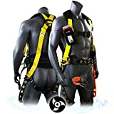 KwikSafety (Charlotte, NC) TYPHOON | ANSI Fall Protection Full Body Safety Harness | Personal Protective Equipment | Dorsal Ring Side D-Rings Grommet Leg Straps Tool Lanyard Bolt Pouch, Construction