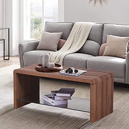 GOLDFAN Tavolino da caffè Rettangolare Tavolino da Salotto Moderno con Vetro Temperato Ripiano,Tavolino per Divano Vetro Moderno
