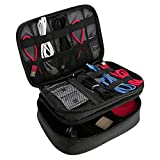 Procase Electronics Travel Organizer Storage Bag, Double Layer Universal Traveling Gear Accessories Carrying Cover Pouch for iPad Mini Cables Phone Chargers Adapter Flash Hard Drive and More –Black