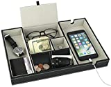Mantello Valet Tray Nightstand Organizer Charging...