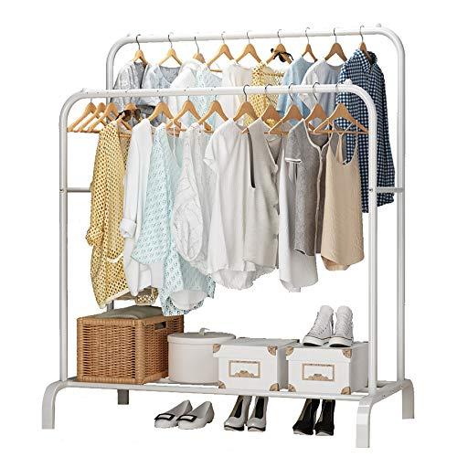 UDEAR Garment Rack Freestanding Hanger Double Pole Multi-functional Bedroom Clothing Rack, White