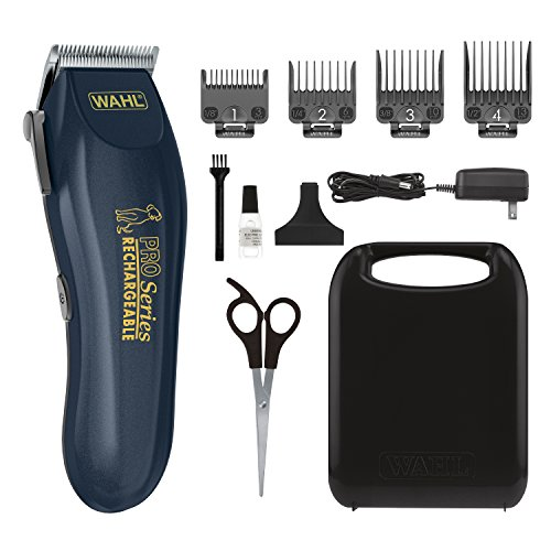 WAHL Lithium Ion Deluxe Pro Series Rechargeable Pet Clipper Grooming Kit with Low Noise & Heavy Duty Motor for Cordless Electric Trimming & Shaving Dogs  Model 9591-2100