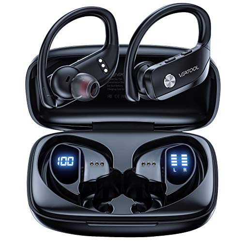 VEATOOL Wireless Earbuds Bluetooth Headphones 48hrs Playtime Sport Earphones with LED Display TWS Stereo Deep Bass Ear Buds with Earhooks Waterproof in-Ear Built-in Mic Headset for Running Workout