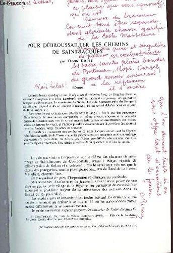 POUR DEBROUSAILLER LES CHEMINS DE SAINT JACQUES / EXTRAIT - Actes du 94e congrès national des societes savantes - Pau - année 1964 - section d'archeologie et d'histoire de l'art