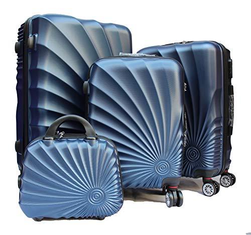 R.Leone Valigia da 1 pezzo Fino a Set 4 Trolley Rigido grande, medio, bagaglio a mano e beauty case 4 ruote in ABS 2092 (Blu, Set XS S M L)