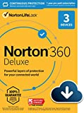 Norton 360 Deluxe 2021 – Antivirus software for 3 Devices with Auto Renewal - Includes VPN, PC Cloud Backup & Dark Web Monitoring powered by LifeLock [Download]