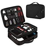 Matein Electronics Travel Organizer, Watreproof Electronic Accessories Case Portable Double Layer Cable Storage Bag for Cord, Charger, Flash Drive, Phone, Ipad Mini, SD Card, Gifts for Him, Black