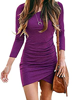 Features: Women's Winter Autumn Spring Dress/ Women Mini Length Dress/ Long Sleeves/ Round Neck /Crewneck Dress/ Wrap Front / Irregular Hem / Solid Color / Strong Stretchy/ Ruched Dress/ Bodycon Dress/ Size Selection: S,M.L,XL/2XL/ Color Selection(3 ...