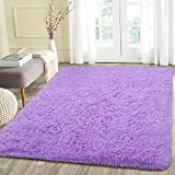 Beglad 4 ft x 5.3 ft Soft Fluffy Area Rug Modern Shaggy Bedroom Rugs for Kids Room Extra Comfy Nursery Rug Floor Carpets Boys Girls Fuzzy Shag Fur Home Decor Rug, Purple
