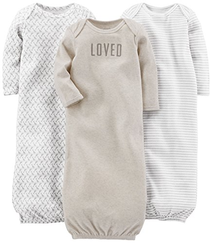 Simple Joys by Carter's Baby 3-Pack Neutral Cotton Sleeper Gown,...