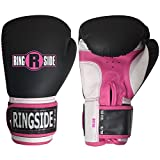 Ringside Pro Style Boxing Training Gloves Kickboxing Muay Thai Gel Sparring Punching Bag Mitts, Small/Medium, Black/Pink