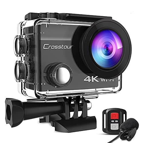Crosstour CT8500 アクションカメラ 4K 2000万解像度 水中カメラ 外部マイク リモコン付き WiFi搭載 水深30m HDMI出力 1050mAh大容量バッテリー2個付 豊富なアクセサリー