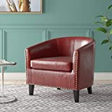 BELLEZE Modern Tub Barrel Arm Accent Chair Faux Leather with Nailhead Trim Upholstered, Red