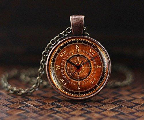 Collier boussole vintage, pendentif boussole ancienne, collier de voyage...