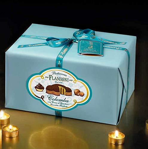Colomba Flamigni con Crema al Gianduia, ricoperta di Cioccolato Fondente e Granella di Nocciole