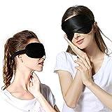 Mengfly - Máscara de dormir (2 unidades, seda natural, antifaz para dormir, antifaz contorneada 3D con correas ajustables para mujeres, hombres, viajes, siestas, trabajo por turnos