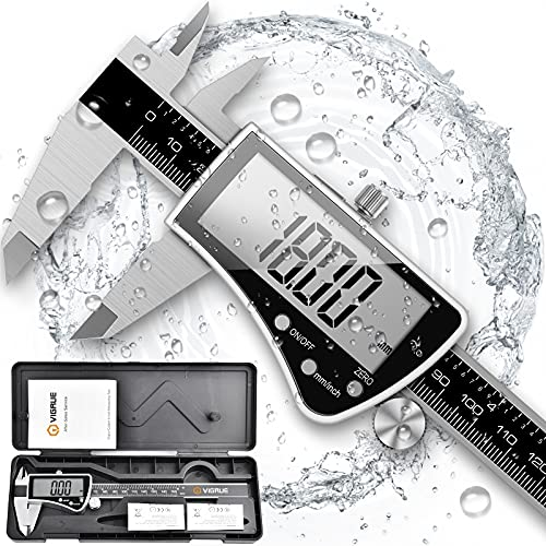 Digital Caliper, VIGRUE 0-6' Stainless Steel and Large LCD Screen Vernier Caliper Measuring Tool, IP54 Protection Inch/Millimeter Conversion, Perfect for Household/Accuracy Measurement