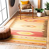 Safavieh Navajo Kilim Collection NVK176A Hand Woven Brown and Multi Wool Area Rug (6' x 9')