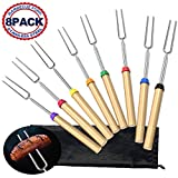 Adoric Marshmallow Roasting Sticks, Roasting Sticks with Wooden Handle 32 Inch Extendable BBQ Forks Telescoping Smores Sticks for Fire Pit, Campfire, Set of 8