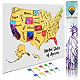 Travelisimo Scratch Off Map of United States, 12x17 US Watercolor Poster for Road Trip, USA Travel Map Scratch Off Accessories, 10 Flags Included