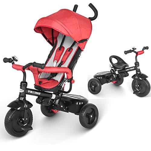 besrey 4 in 1 Triciclo Passeggino per Bambini Triciclo con maniglione Triciclo a Spinta con Tetto apribile 12 Mesi a 5 Anni (Rosso)…