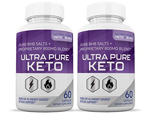 Ultra Pure Keto X Burn Pills Advanced BHB Ketogenic Supplement Exogenous Ketones Ketosis for Men Women 60 Capsules 2 Bottles 1