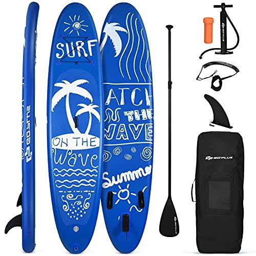 Goplus Tavola da Surf Gonfiabile, Paddle Board per Adulti, Tavola Gonfiabile SUP,3 Dimensioni Diversi da Scegliere, con Accessori Completi, Blu (305x76x15 cm)