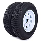 MILLION PARTS Set of 2 15' Trailer Tires Rims ST205/75D15 Tire Mounted (5x4.5) Bolt Circle White Spoke Trailer Wheel With Bias Black