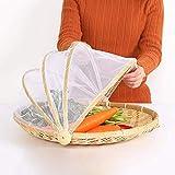 Panier de pique-nique avec gaze Panier anti-poussière gaze Bamboo Tent Panier preuve anti-poussière Sun Basket Handmade Cover Circular pour Fruit Pain végétal avec protection Couverture en filet
