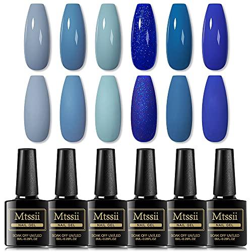 Nude Blue Gel Nail Polish Set, 6 Colors Glitter Blue Gel Polish Kit, Soak Off LED Lamp UV Nail Gel Kit for Starter Salon Nail Art DIY at Home Gift for Women