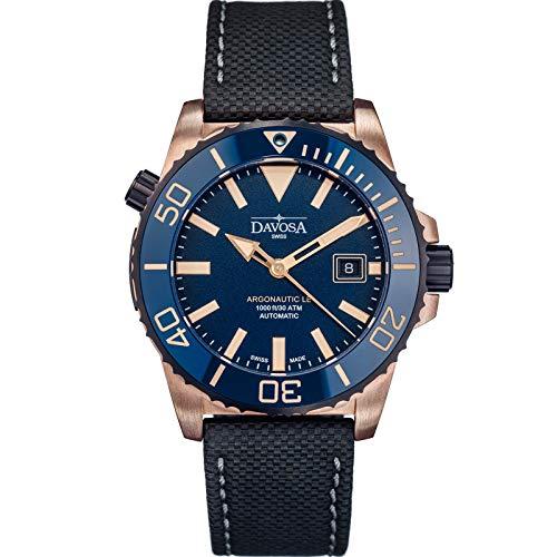 Davosa Automatische Schweizer Taucheruhr – Luxus Analog Argonautik Wasserdicht Sport Armbanduhr für Herren mit stilvollem Armband Bronze, Blau