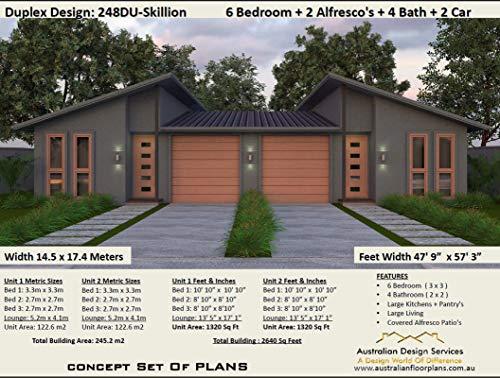Amazon Com Skillion Roof Duplex Plans Exclusive House Plans Full Architectural Concept Home Plans Includes Detailed Floor Plan And Elevation Plans Duplex Designs Floor Plans Book 2486 Ebook Morris Chris Designs