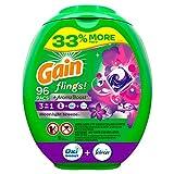 Gain Flings! Liquid Laundry Detergent Pacs, Moonlight Breeze, 96 Count