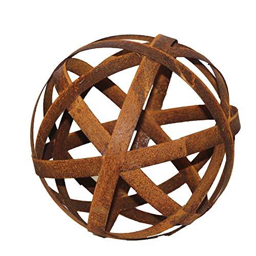 Bornhöft Kugel 40cm aus Metall Edelrost Rost Streifenbandkugel Eisen Deko Gartendeko Bänderkugel Stahlbandkugel