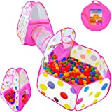 Playz 3pc Kids Play Tent Crawl Tunnel and Ball Pit Pop Up Playhouse Tent with Basketball Hoop for Girls, Boys, Babies, and Toddlers for Indoor and Outdoor Use with Pink Carrying Case