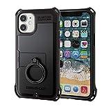 エレコム iPhone 12 mini ケース Qi充電対応 ハイブリッド ZEROSHOCK 耐衝撃 リング ブラック ……
